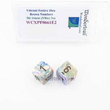 Wondertrail Products Vibrant Festive Dice with Brown Numbers D6 Aprox 16mm (5/8in) Pack of 2 Wondertrail