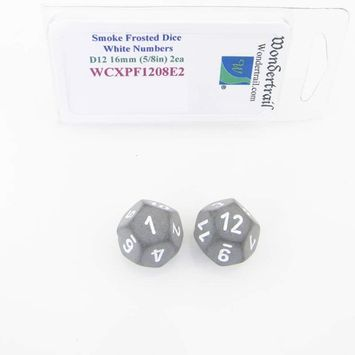 Wondertrail Products Smoke Frosted Dice with White Numbers D12 Aprox 16mm (5/8in) Pack of 2 Wondertrail