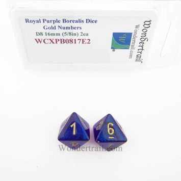 Wondertrail Products Royal Purple Borealis Dice with Gold Numbers D8 Aprox 16mm (5/8in) Pack of 2 Wondertrail