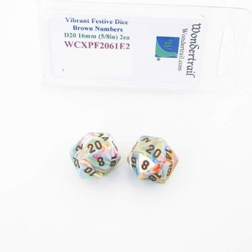 Wondertrail Products Vibrant Festive Dice with Brown Numbers D20 Aprox 16mm (5/8in) Pack of 2 Wondertrail