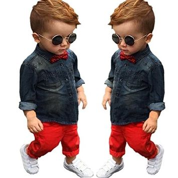 Efaster 1Set Kids Toddler Boys Handsome Denim T-shirt+Trousers Pants Clothes Outfits