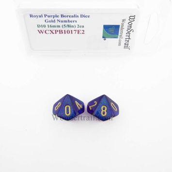 Wondertrail Products Royal Purple Borealis Dice with Gold Numbers D10 Aprox 16mm (5/8in) Pack of 2 Wondertrail