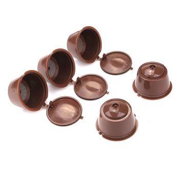 Weanas CISNO 5pcs/Pack Brown Refillable Coffee Capsules + 1Pcs Orange Spoon For Dolce Gusto Compatible with Mini Me, Genio, Piccolo, Esperta and Circolo Gamlung Brand Set