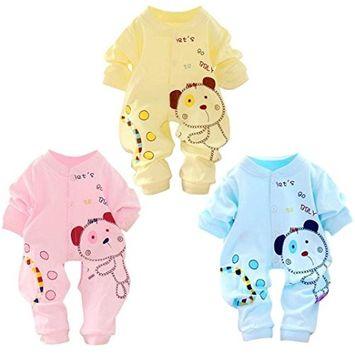 Efaster Baby Kids Boy Girl Infant Romper Bear Pattern Jumpsuit Bodysuit Cotton Clothes Outfit [Blue, Age:3-5M]