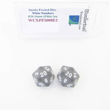 Wondertrail Products Smoke Frosted Dice with White Numbers D20 Aprox 16mm (5/8in) Pack of 2 Wondertrail