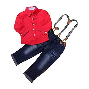 Efaster 1Set Kids Toddler Boys Handsome Red Shirt+Braces Trousers Clothes Outfits [6T]