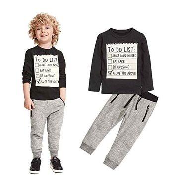 Efaster Toddler Boys Handsome Black Blouse + Gray Casual Pants Letter Pattern [3T]
