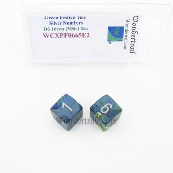 Wondertrail Products Green Festive Dice with Silver Numbers D6 Aprox 16mm (5/8in) Pack of 2 Wondertrail