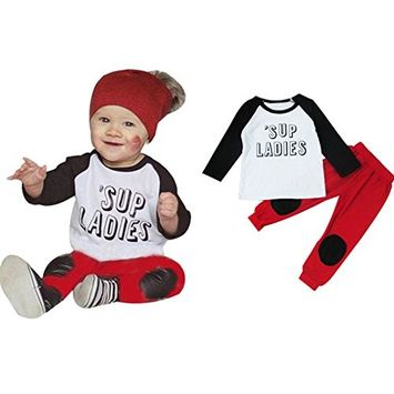 Efaster® 1Set Toddler Baby Boys Letter Printed T-shirt Tops+Pants Outfits Clothes (24M)