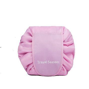 Drawstring Cosmetic Bag Travel Lazy Makeup Storage Bag Toiletry Bags Portable&Waterproof Quick Pack Large Cosmetic Bag Dual Magic Bags with Zipper&Drawstrings (Pink Logo)