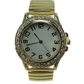 JFC - Women's Gold Stretch Band Watch Stainless Steel Stretch Band White Dial Crystal Dial Easy Read