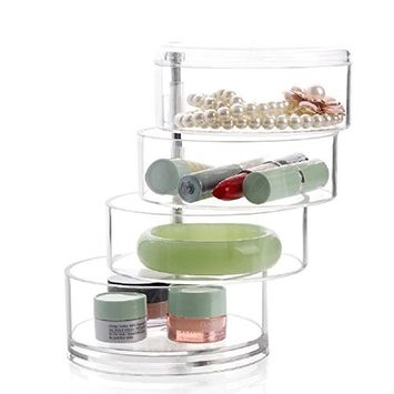 Makeup Storage,Milie Comestic Jewellery Case Beauty Clear Polystyrene Box Rotate Drawers 4 Sections