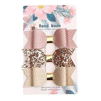 EA-STONE 3Pcs Baby Girl's Layered Sequins Bow Hair Clips,Faux Leather Boutique Hairpins Accessories
