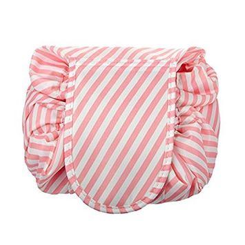 Drawstring Cosmetic Bag Travel Lazy Makeup Storage Bag Toiletry Bags Portable&Waterproof Quick Pack Large Cosmetic Bag Dual Magic Bags with Zipper&Drawstrings