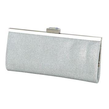 De Blossom Collection De Blossom Womens Silver Glitter Texture Jeweled Clasp Closure Clutch Purse