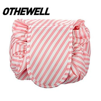 Fashion Drawstring Cosmetic Bag Travel Lazy Makeup Storage Bag Portable&Waterproof Quick Pack Large Cosmetic Bag Dual Magic Bags With Zipper&Drawstrings Brush Holder Carry On Travel (Stripe)