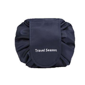 Drawstring Cosmetic Bag Travel Lazy Makeup Storage Bag Toiletry Bags Portable&Waterproof Quick Pack Large Cosmetic Bag Dual Magic Bags with Zipper&Drawstrings (Navy Logo)