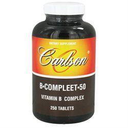 Carlson Laboratories B-Compleet 50, Vitamin B Complex, 250 tablets, Carlson Labs