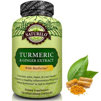 Naturelo Turmeric Powder with Ginger Extract - Added BioPerine for Better Absorption - 120 Capsules