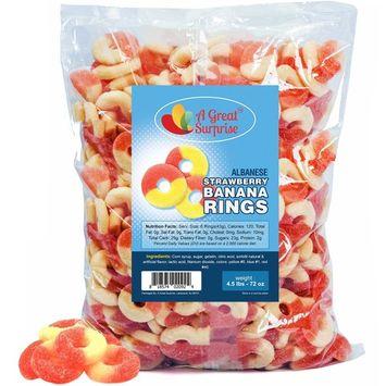 Gummy Rings – Strawberry Banana Gummy Rings – Bulk Gummy Rings – Bulk Candy - 4.5 LB [Strawberry Banana]