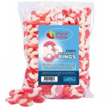 Gummy Candy - Gummi Watermelon Rings - Pink-White Gummies - Bulk Candy 4.5 LB [Watermelon]