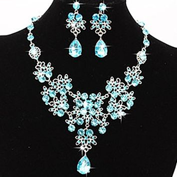 Fheaven Fashion Prom Wedding Bridal Statement Necklace Earrings Jewelry Set in Crystal Rhinestone, Jewelry Gift for Best Friends