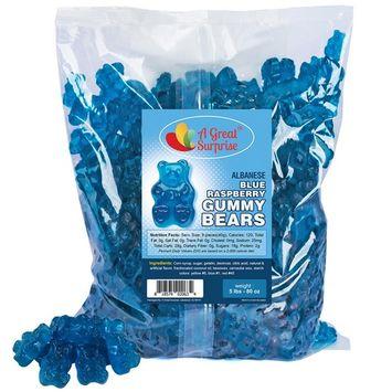 Gummy Bears - Bulk Candy – Gummy Bears Blue Raspberry – Blue Gummi Bears – Bulk Candy Gummies 5 LB [Blue Raspberry]