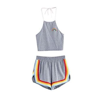 Women's 2 Piece Set Running Halter Crop Top and Shorts Set