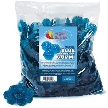 Gummy Raspberries - Blue Raspberry Gummies - Bulk Candy 5 LB [Blue Raspberries]