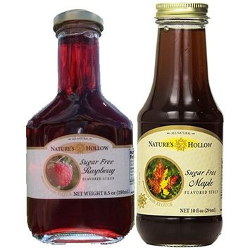Nature's Hollow, Sugar-Free Raspberry and Maple Flavored Syrup, Non GMO, Vegan and Gluteen Free - 2 Pack [Raspberry and Maple]