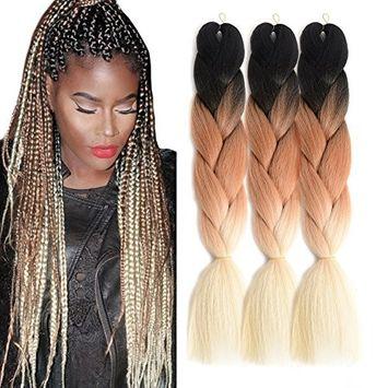 "Ombre Jumbo Braid Hair Extensions 24"" 3Pcs/Lot 100g/Pc High Temperature Kanekalon Synthetic Fiber for Twist Braiding Hair(Black To Grey)"