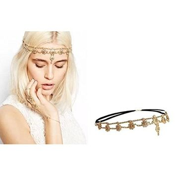 AUCH Pearl Flower Stretchy Headband with Crystal, Women's Forehead Chain, Bridal Hair Accessories- G