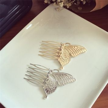 AUCH 1Pair Elegant Deer Horn Elk Antler Stag Side Hair Pin Clip Cuff Claw Comb, Siver/G
