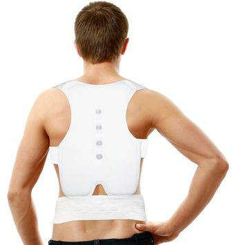 Tonewear Adjustable Magnet Therapy Posture Back Shoulder Corrector Support Brace Belt (White)