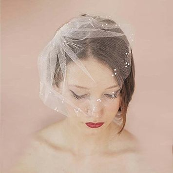 Auch Elegant Soft Tulle Bridal Veil with Comb, Short Ivory White Wedding Veil with Pearl Decorate, Handmade Birdcage Wedding Veils Short£¬ White