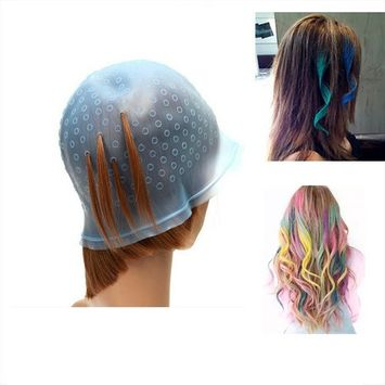 Pro Salon Dye Silicone Cap with Hook Hair Salon Color Coloring Highlighting Reusable Set Frosting Tipping Dyeing Color Tools