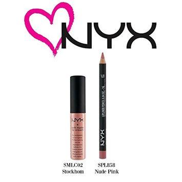 NYX Soft Matte Lip Cream Stockholm(SMLC02) & Slim Lip Pencil Nude Pink (SPL85.