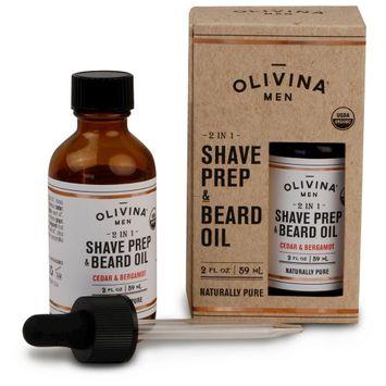 Olivina Men 2 In 1 Shave Prep & Beard Oil - 2 oz