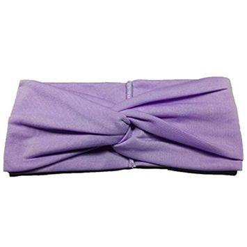 Hair Accessories Twist Elasticity Turban Headbands For Women Sport Yoga Headwear Hairbands Bows Light Purple