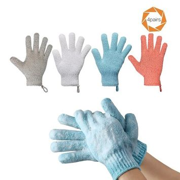 Pretty See Bathing Gloves Double Side Durable Exfoliating Shower Gloves for Removing Cutin, 4 Pairs/Set