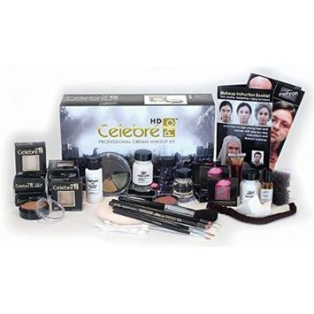 Mehron Celebré Professional HD Cream Makeup Kit  Complete Makeup Artist Beauty Set for Theatre, Stage, Movies, Special Effects, Videos, Photography Skin, Eyes & Hair Contouring (Dark)