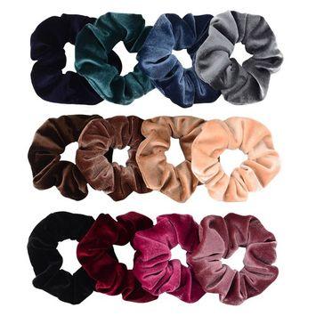 Whaline 12 Pieces Hair Scrunchies Velvet Elastics Scrunchy Bobbles Soft Hair Bands Hair Ties