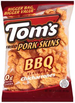 tom's® bbq flavored chicharrones fried pork skins