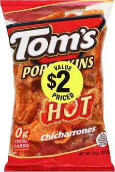 tom's® pork skins hot flavored chicharrones