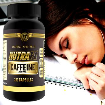 Caffeine Pills 200mg Maximum Potency Benefits Strength, Energy & Focus 200 Capsules All Natural Caffeine with No Crash By NutraFX