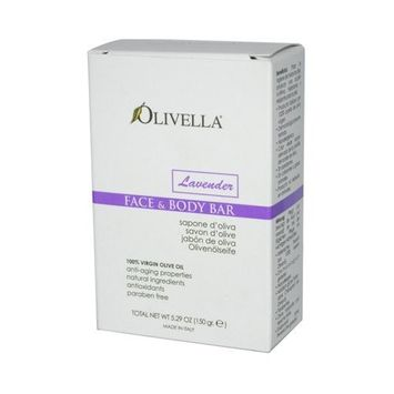 Pack of 4 x Olivella Face and Body Bar Soap Lavender - 5.29 oz by Olivella