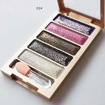 Hometom 5 Color Glitter Eyeshadow Makeup Eye Shadow Palette New (B)