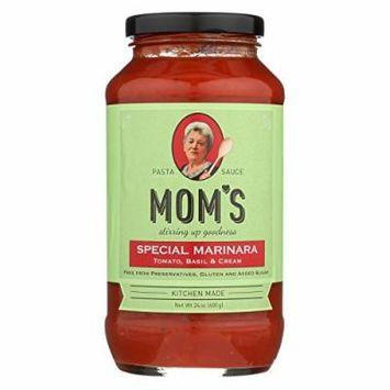 Mom's Pasta Sauce Special Marinara Sauce - Tomato, Basil and Cream - Case of 6 - 24 Fl oz.