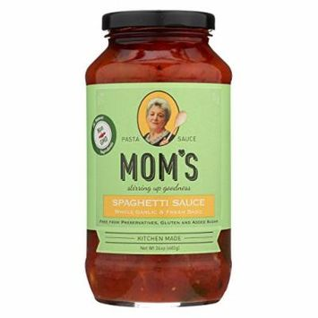 Mom's Pasta Sauce Pasta Sauce - Garlic and Basil - Case of 6 - 24 Fl oz.