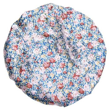 Large Bathing Shower Cap For Woman, Elastic Waterproof And mold resistant hat With 4 Pack Different Patterns (Blue China Rose)